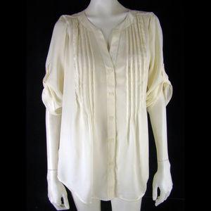 Ann Taylor Silky Oversized Pintuck Cream Tunic Top
