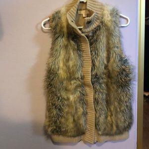 Michael by Michael Kors tan ribbed furry vest