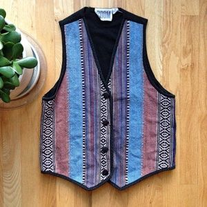 VTG🌵90s Saddle Blanket Navajo Woven Vest!