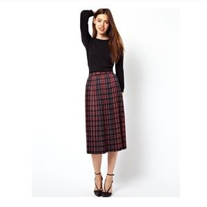 Asos Pleated Plaid Skirt