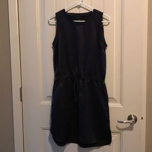 Navy blue tank dress with cinch waist and pockets