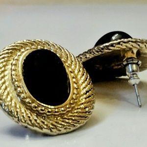 Vintage Goldtone Black Onyx Stud Earrings
