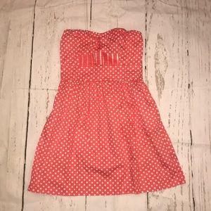 Coral and white cute polka dot dress