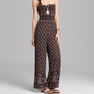 Free People Smocked Jumpsuit Bohemian Strapless