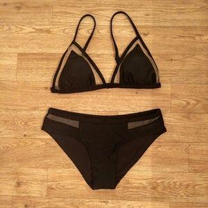 Xhilaration Black Mesh Triangle Bikini NWOT