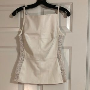 White faux leather and lace peplum top