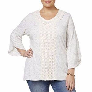 Tulip Sleeves Tunic Casual Top Ivory Lace 1X Plus