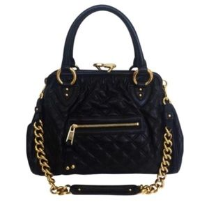 MARC JACOBS Stam Quilted Leather Black Satchel