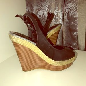 Black Wedges with back strap & Wooden Sole - 8