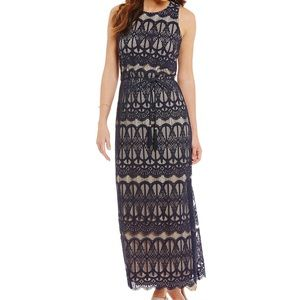 Jessica Howard Lace Blouson Maxi Dress