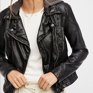 Free people vegan leather hooded jacket NWOT
