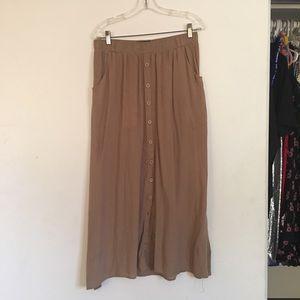 Tan Botton Down Maxi Skirt