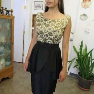 Vintage Black and Gold Rayon Taffeta Formal Dress