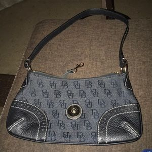 Dooney and Bourke Black denim and leather purse