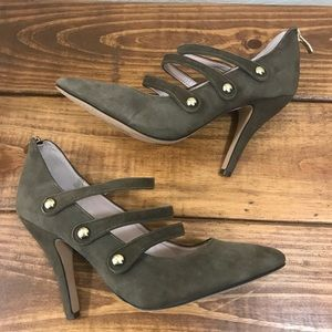 Vince Camuto JAMILY olive green suede heels Sz 7.5
