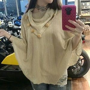 Beige or tan cream shawl with soft loose collar