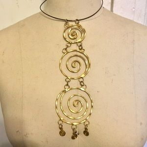 Gold Spiral Pendant Necklace