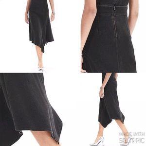 Banana Republic Raw Cut Black Asymmetrical Skirt