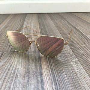 Hexagon Cat Eye Sunglasses - Rose Gold