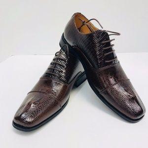 New Men's Amali Two-Tone Brown Oxford Dress Shoes