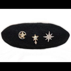 UNIQUE 3 Rhinestone Star Pins Beret Winter Fashion