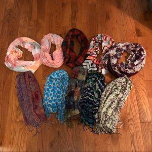 Bundle of 10 scarves. Infinity and regular scarves