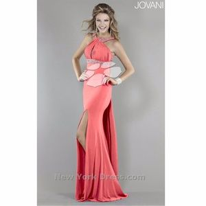 Glitzy gown with chic back drape by Jovani