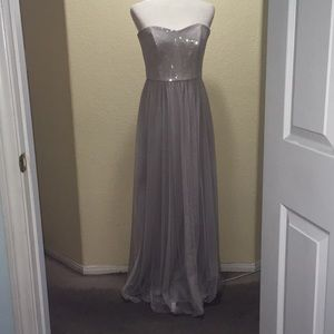 Soft Tulle Strapless Taupe Dress C