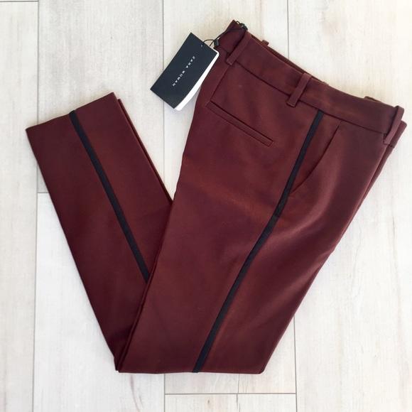 b008765e Zara Pants | 100 Bnwt Maroon Cropped Tuxedo Pant | Poshmark