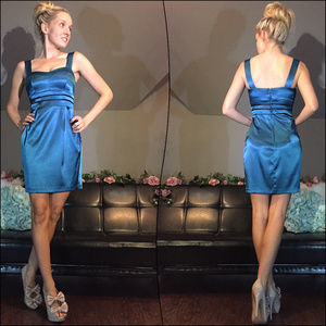 Teal Tailored Cocktail Party Dress