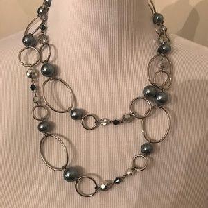"""Lia Sophia retired Silver necklace 44"""""""