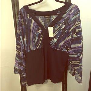 NWT Beautiful Lane Bryant Flowy Purple Blouse Sz16