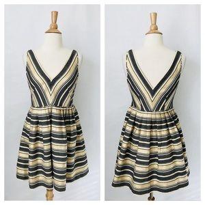 {J.Crew} Striped Deep V Shimmer Fit Flare Dress