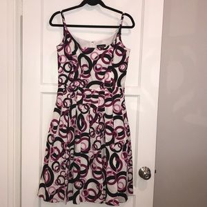 Black/pink fit and flare dress