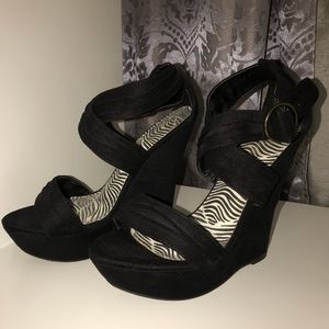 Like New Black Strappy Wedges - 7.5