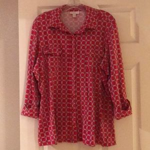 Charter club red print blouse