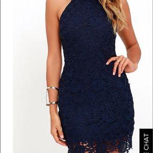 Lace, navy blue, short prom dress