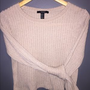 Beige Ribbed Cropped Long Sleeve Top