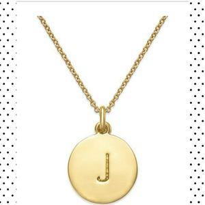 "kate spade necklace pendant ""J"" charm goldtone NWT"