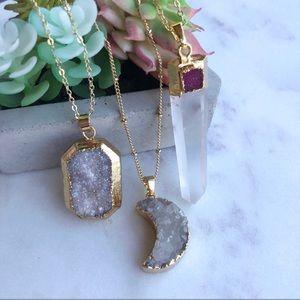Druzy quartz crystal necklace gold classic simple
