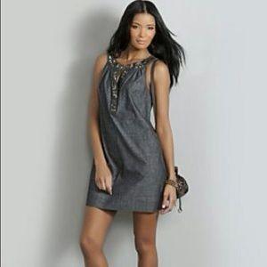 New York & Company Denim Embellished Mini Dress