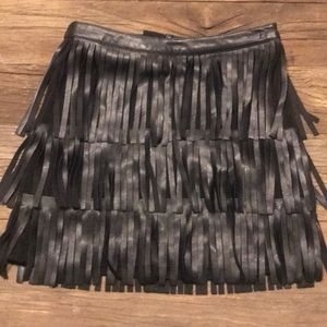 H&M faux leather fringe skirt