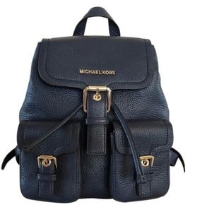 MICHAEL KORS NAVY LARGE PEBBLED LEATHER BACKPACK