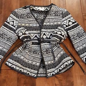 Patterned Blazer with Detachable Belt