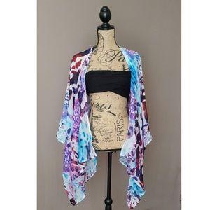Sheer Purple/Multicolored Animal Print Kimono