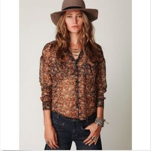 Free People Easy Rider Floral Print Sheer shirt XS