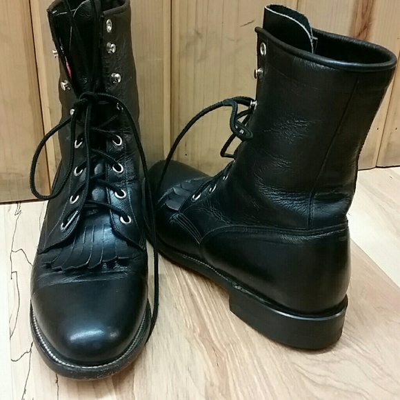 45e460c08cdb Justin Boots Shoes - Justin Black Lace Up Granny Boots 8