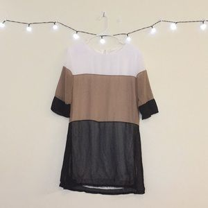 White/Tan/Black color block dress