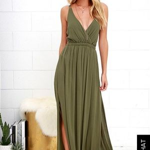 NWT Lost in paradise olive green maxi