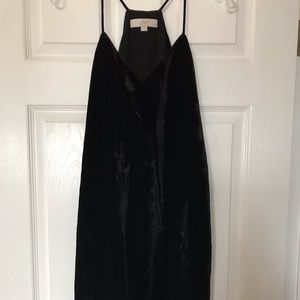 LOFT Black Velvet Strappy Dress 4P